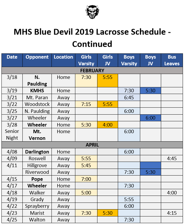 lacrosse schedule from end of March to April