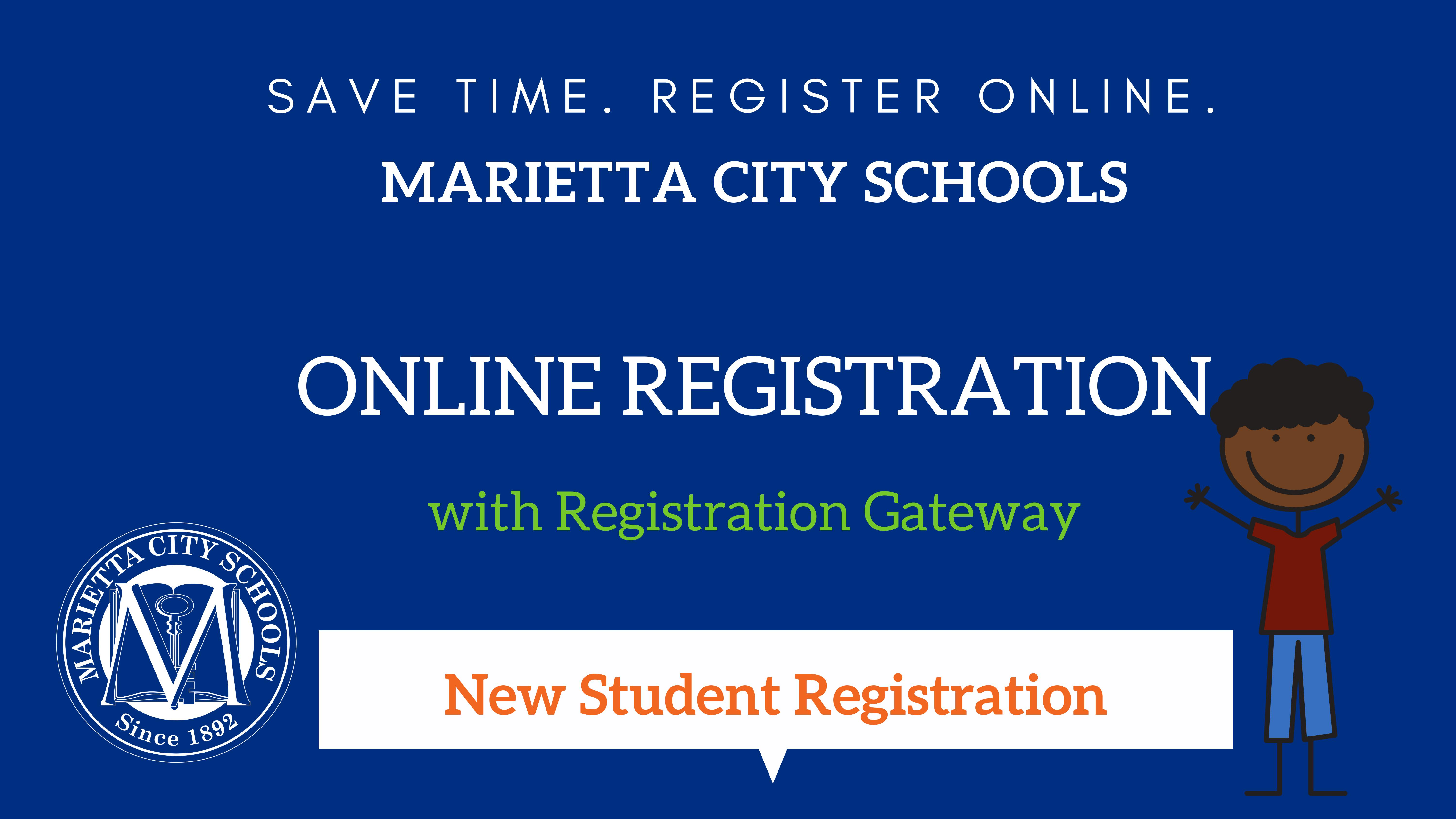 Blue graphic with text about registration and animated drawings of a student