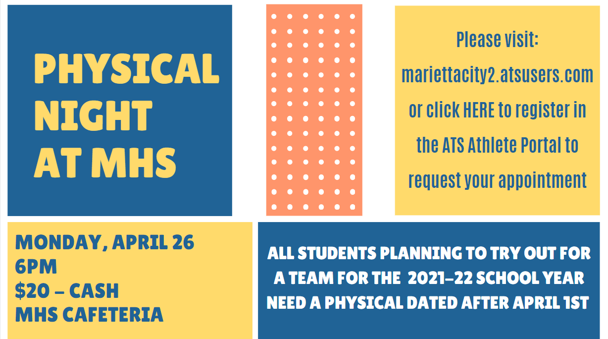 Register here for Marietta City Schools Physical Night for school year 2021-2022