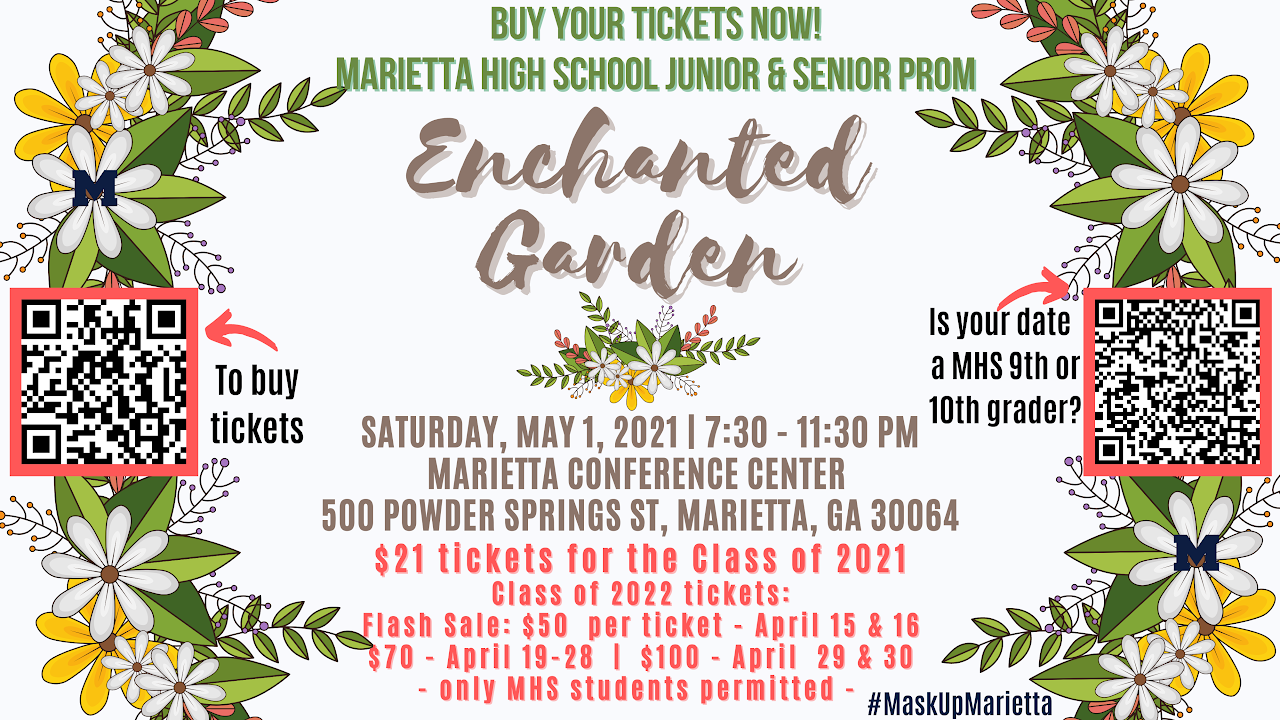 Buy your Marietta High School 2021 Prom Tickets Now!