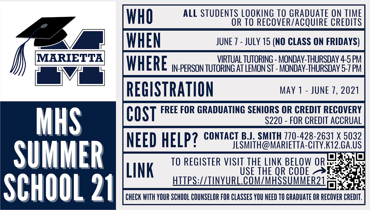 Marietta High School Summer School 2021 Info
