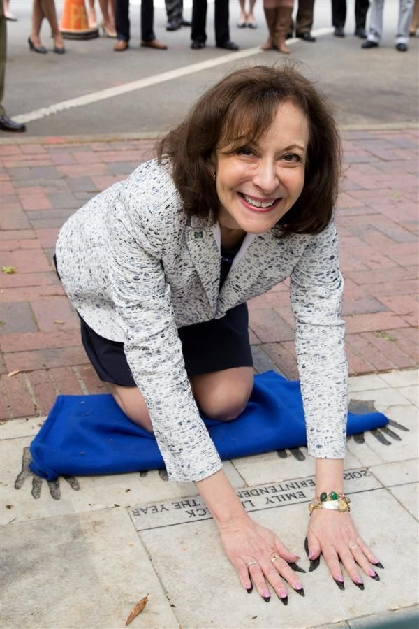 04/15 MCS Superintendent Dr. Emily Lembeck Honored with Handprints on the Marietta Square and Key to the City