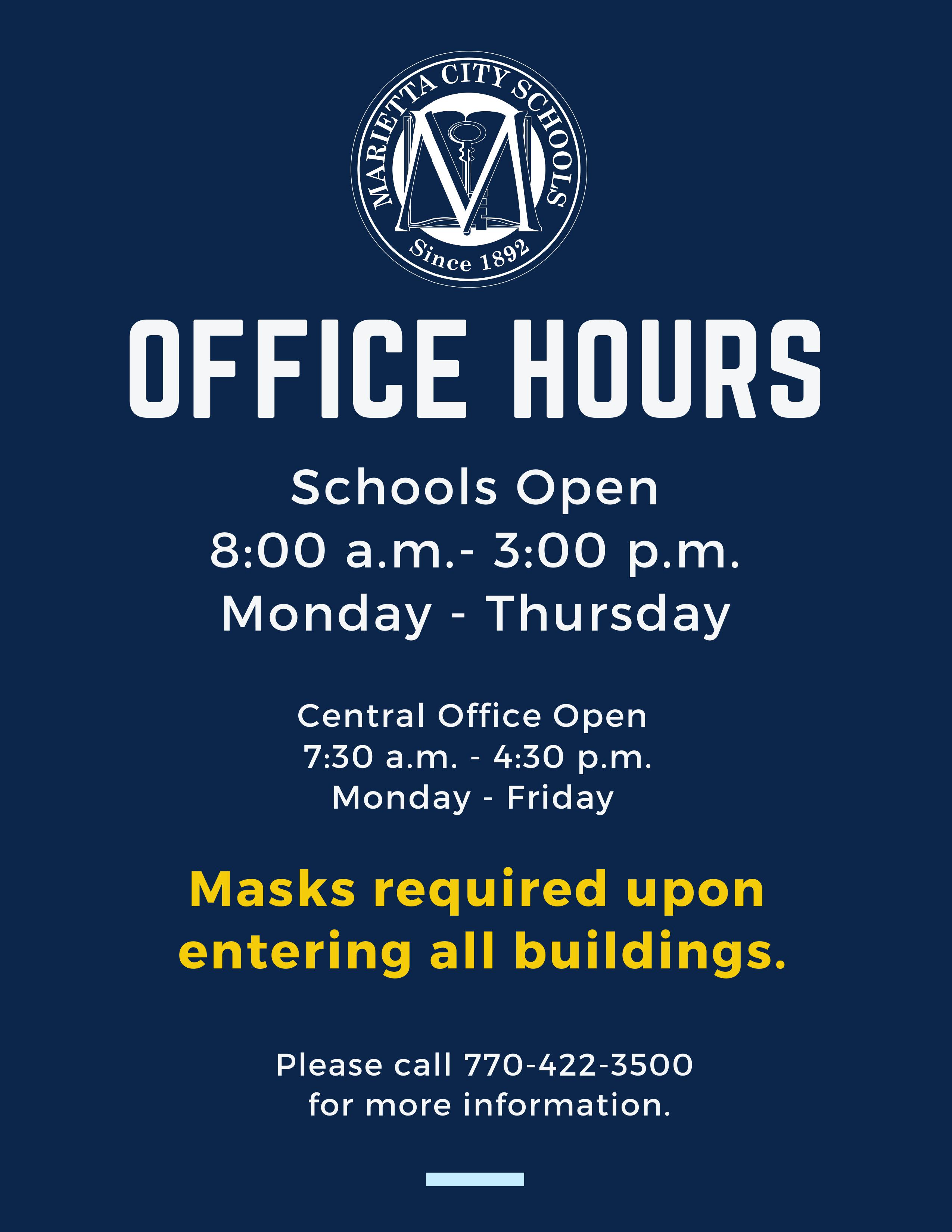 Text showing office hours of schools