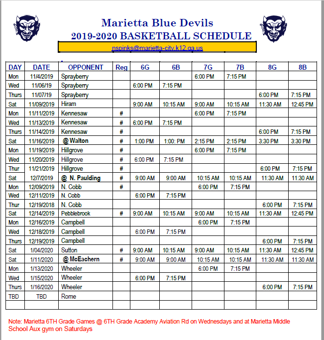 Basketball Schedule 2019-2020 Season
